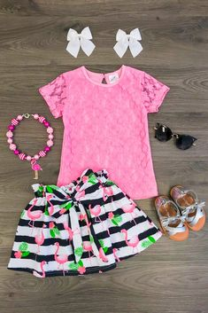 Lacie Flamingo Skirt Set