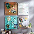 Bulletin board for E's room.  Cover some cork board tiles in fabric.