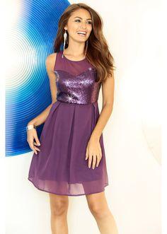 Sukienka szyfonowa z cekinami Piękna • 124.99 zł • bonprix