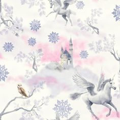 Fairytale is a new fantasy themed children's wallpaper from the Imagine Fun collection. Mystical pegasus unicorns, enchanted castles, owls, shimmering trees and glittering frozen snowflakes are all enhanced with glitter highlights. Snowflake Wallpaper, Fairy Wallpaper, Cloud Wallpaper, Paper Wallpaper, Kids Wallpaper, Wallpaper Roll, Nursery Wallpaper, Wallpaper Ideas, Unicorns Wallpaper