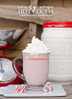 Warm up with a cup of this delicious Candy Cane Hot Cocoa!  Recipe from A Night Owl for livelaughrowe.com