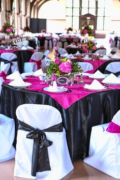 Pink and Black Wedding tablescapes