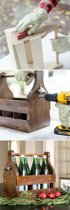Build cheer with this easy-to-build DIY Wooden Bottle Tote. The full how-to for … - Wood Working Woodworking Projects That Sell, Learn Woodworking, Woodworking Plans, Woodworking Gift Ideas, Wooden Crafts, Diy Wood Projects, Wooden Diy, House Projects, Diy Furniture To Sell