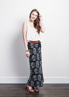 Mountain Maxi Skirt in White on Black by thiefandbandit on Etsy