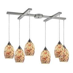 Westmore Lighting Fradley 30-In Satin Nickel And Crackled Multicolor G
