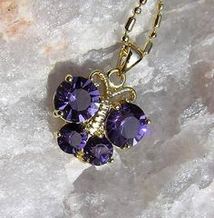 Purple Amethyst Butterfly Pendant  Vintage by SunnyCrystals, £9.50 #jewelry #jewellery #pendant #necklace #butterfly #amethyst #purple #spring #summer #gold