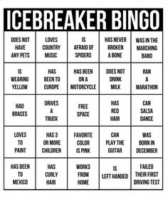 Ice breaker bingo - perfect for a team building activity. Fun Icebreaker Games, Youth Games, Games For Teens, Ice Breaker Games For Adults, Icebreakers, Bingo Card Template, Bingo Cards, Team Building Games, Team Building Events
