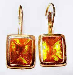 "#Amber #LeverBack #Earrings Foil #Rhinestones #GoldMetal Square Cut 1"" #Vintagejewelry"