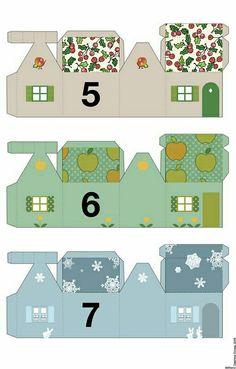 Miniature houses, advent calendar delphine Doreau Plus Advent Calendar House, Advent House, Diy Paper, Paper Crafts, Advent Calenders, Theme Noel, Paper Houses, Christmas Villages, Miniature Houses