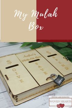 """Help teach your kids about money management with this wooden Piggy Bank or as we call it """"My Mulah Box""""."""