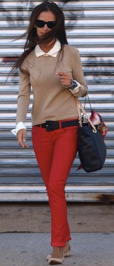 Business casual work outfit: camel sweater over white button up, red skinnies, nude flats. I'd lose the belt & wear with nude heels or oxfords.