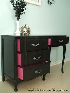 Wow!  This girl is amazing!  Check out her site for more cool makeovers.  Transforming Old Furniture with Paint {Chests and Consoles}  If you have a piece of old furniture that could use a re-do then this post is for you! Thanks to a can of paint this desk has gone from drab to fab. The best part of this re-do is how she painted the drawers pink for an added detail that really makes the desk pop!