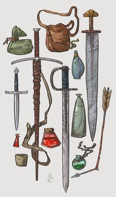 Item Sketches 4 by Nafah sword arrow potion of healing sack pack handy haversack equipment gear magic item | Create your own roleplaying game material w/ RPG Bard: www.rpgbard.com | Writing inspiration for Dungeons and Dragons DND D&D Pathfinder PFRPG Warhammer 40k Star Wars Shadowrun Call of Cthulhu Lord of the Rings LoTR + d20 fantasy science fiction scifi horror design | Not Trusty Sword art: click artwork for source