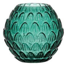 Vase transparent vert aux motifs floraux - 13 cm x 7,5 cm x 7,5 cm - 9,99 euros.