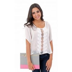 Woven Top with Crochet Detail $24.99