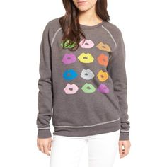 Women's Junk Food Donald Robertson Lips Sweatshirt ($110) ❤ liked on Polyvore featuring tops, hoodies, sweatshirts, pepper, graphic pullover, graphic sweatshirts, raglan top, graphic print sweatshirts and lips sweatshirt