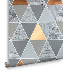 Copper Reflections Wallpaper - I love the geometric design and the colours and textures! Wallpaper Bedroom Geometric, Geometric Wallpaper Copper, 2017 Wallpaper, Home Wallpaper, Wallpaper Ideas, Glam Living Room, Feature Wallpaper, Beautiful Bedrooms, Interior Design Living Room