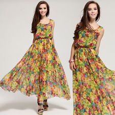 WOMEN'S VINTAGE CHIFFON FLORAL SLEEVELESS LONG MAXI EVENING COCKTAIL PARTY DRESS