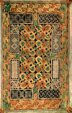 From The Book of Durrow, which is a 7th century medieval illuminated manuscript gospel book in the Insular art style. It was created either at Durrow Abbey near Durrow in County Offaly in Ireland or in Northumbria in Northern England.