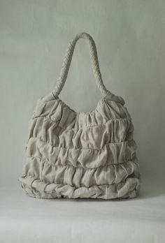 Ruffled linen handbag in variegated natural by sraige on Etsy. --- diy