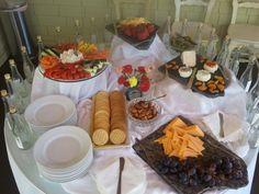 Appetizer arrangement for an elopement reception.