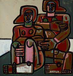 "Art. Artist America Martin | Oil & Acrylic on Canvas | 72"" x 71.5"" JoAnne Artman Gallery Laguna Beach"