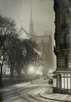 A snowy night in Paris,1940s