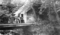 Old photograph of the old mill in Rouken Glen park in Giffnock East Renfrewshire to the South West of Glasgow, Scotland
