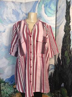ROAMANS PLUS 18W NEW PINK MIX STRIPED BUTTON TEXTURED SHORT TAB SLEEVE TUNIC TOP #Roamans #ButtonDownShirt #Casual