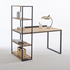 Hiba Steel/Solid Oak Desk with Shelving Unit LA REDOUTE INTERIEURS Industrial style furniture in solid joined oak and metal, providing 2 pieces of furniture in one. The Hiba desk-shelving unit combines contemporary. Iron Furniture, Steel Desk, Wood Furniture, Oak Bookcase, Metal Furniture, Industrial Style Furniture, Solid Oak Bookcase, Steel Furniture, Furniture Design