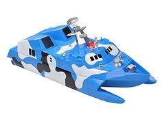 Sceek.Com - 2.4Ghz Stealth Missile Model Boat Ocean Camouflage Battleship RC Catamaran Speed Marine Ship by Poco Divo