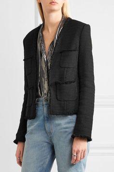 L'Agence - Jules Frayed Bouclé Jacket - Black - US8