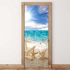 Beach Starfish Pattern Environmental Removable Door Stickers - COLORFUL 38.5*200CM*2PCS Scenery, Wall Sticker, Ceiling Decor, Door Stickers, Cheap Doors, Wall Stickers, Beach Themes, Doors, 3d Decor