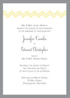 Yellow and Gray Chevron Wedding Invitation by CrownjulzPrintStudio, $7.00