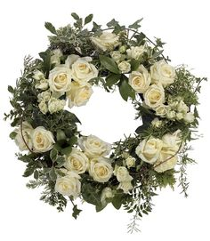 Funeral Wreath in white roses Flower Wreath Funeral, Funeral Flowers, Wedding Flowers, Funeral Floral Arrangements, Flower Arrangements, White Wreath, Floral Wreath, Flower Wreaths, Funeral Sprays