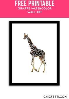 Free Printable Giraffe Watercolor Art from @chicfetti - easy wall art DIY