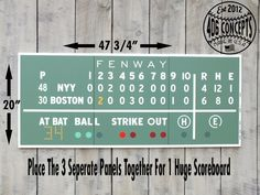 Huge 3 Panel Painted Wood Green Monster Scoreboard Boston Red Sox World Series