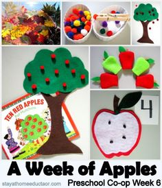 Preschool Apple Activities and Books broken down by what topic they can address