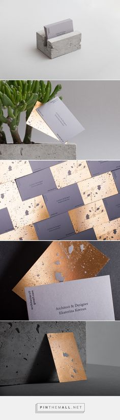 Golden concrete architect business card - Mindsparkle Mag - created via https://pinthemall.net
