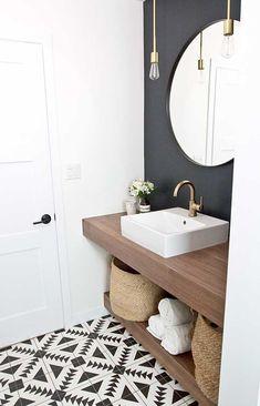 Half Bathroom Storage Ideas Vanities 27 Ideas For 2019 Traditional Bathroom, Trendy Bathroom, Modern Bathroom Design, Bathroom Mirror, Bathroom Vanity, Amazing Bathrooms, Bathroom Flooring, Bathroom Design, Bathroom Colors Gray