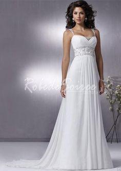 Robe de Mariée Avec Bretelles-A-Line/Princess bretelles chapelle des robes en mousseline de soie train de mariage