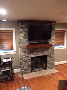 Air stone fireplace makeover. A little time consuming but well worth it in the end. Mine took 6 boxes of flat egde and about 3 1/2 of the corners.