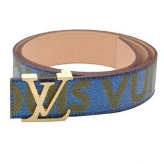 louis vuitton blue/gray embossing gold lv initiales buckle belt