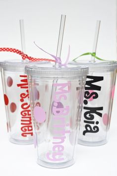 The dollar store has lots of tumblers and stickers to create a fun drinking cup for Michelle!