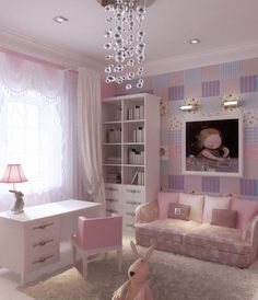 Girly Pink Lilac Blue Girls Bedroom Design with Two Cozy Sofa and Three-Drawers Study Desk by Natalya Belyakova