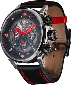 B.R.M. Watches CT-48 Red Hands #bezel-fixed #bracelet-strap-leather…