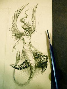 Winged mermaid with turtle - Ferhat Edizkan