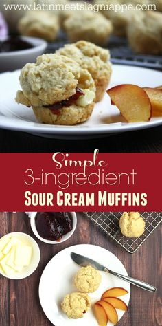 So simple! These 3-ingredient Sour Cream muffin recipe is perfect for breakfast or brunch!