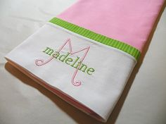 Monogrammed Personalized Pillowcase Pink by ccampbell0509 on Etsy, $20.00..have done w/kk's colors:)