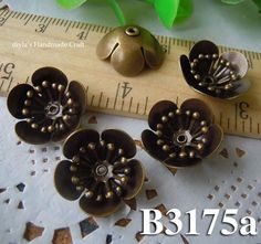 6pcs A set  15x5.5mm brass plated Bronze filigree bead by diyla